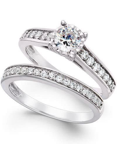 trumiracle bridal engagement ring in 14k white gold 1 ct t w rings jewelry