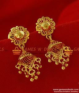 ER227- Daily Wear Gold Like Design Jumkhi with Triangular ...