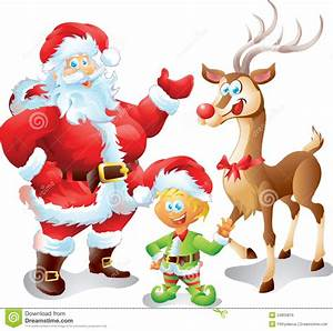Santa With Elf And Reindeer Stock Illustration