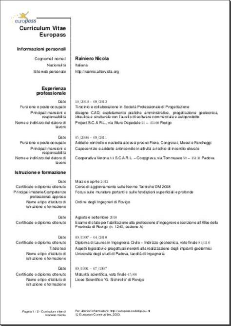 curriculum vitae curriculum vitae template italiano