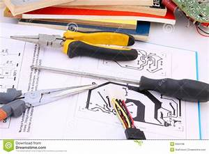 Electronic Circuit And Tools Stock Photo