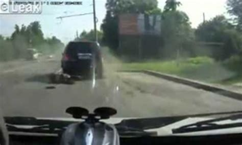 russian dash russian goes flying through windshield at speed