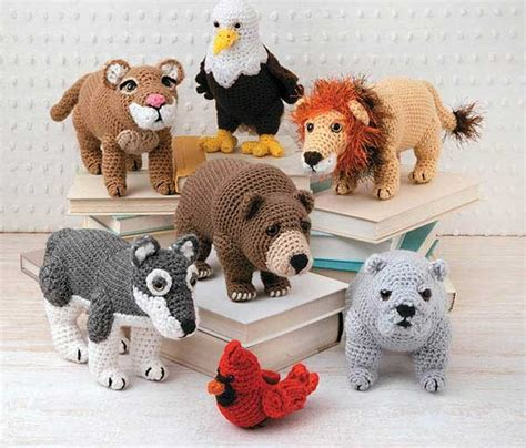 crochet animal patterns lions bears tigers eagles
