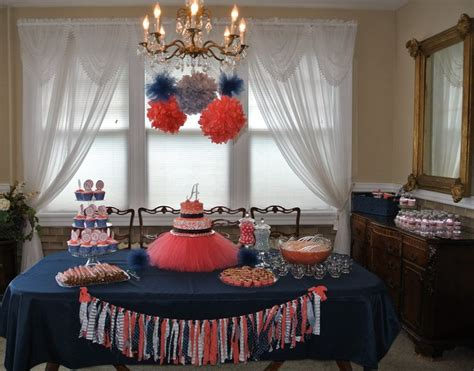 Coral Navy And Gray Baby Shower Decor Did It Myself In