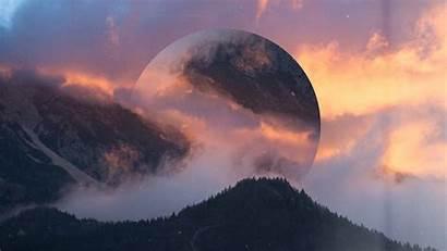Geometric Landscape 4k Wallpapers Desktop Mountain Foggy
