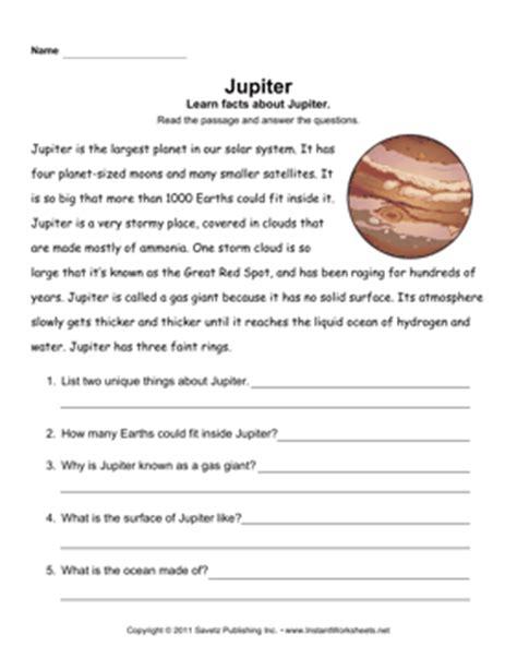 jupiter planet worksheet jupiter comprehension