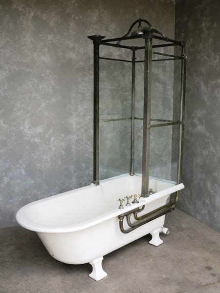 antique bathroom cast iron canopy  glass shower bath