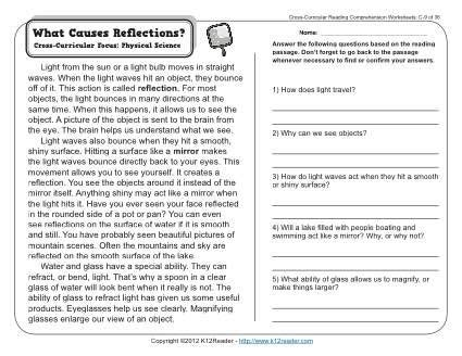 Find this pin and more on english by nada noureddine taki. What Causes Reflections | Reading comprehension worksheets, Reading comprehension, 3rd grade ...