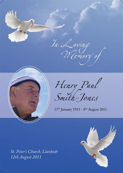dove inspired funeral order  service design  http