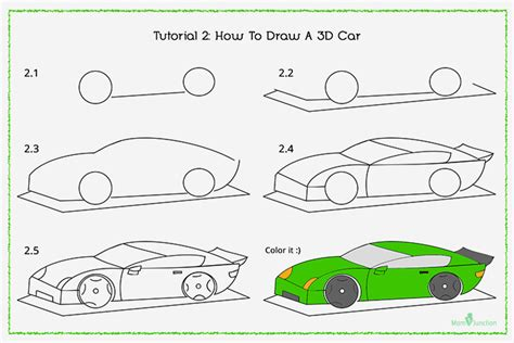 How To Draw A Car Step By Step With Pictures by 3d Car Drawing At Getdrawings Free For Personal Use