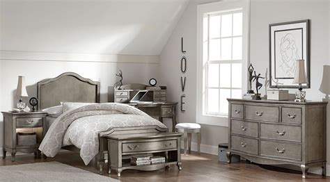 silver bedroom furniture sets kensington antique silver charlette youth panel bedroom 17062 | 30010n nekids