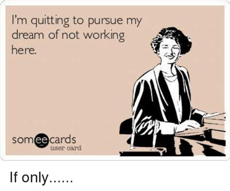 Not Working Meme - i m quitting to pursue my dream of not working here som ee cards user card if only meme on sizzle