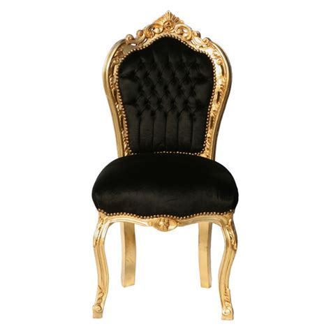black chair gold leafed solid wood and black luxury