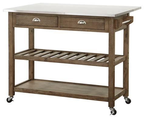 Drop Leaf Stainless Steel Kitchen Cart   Farmhouse