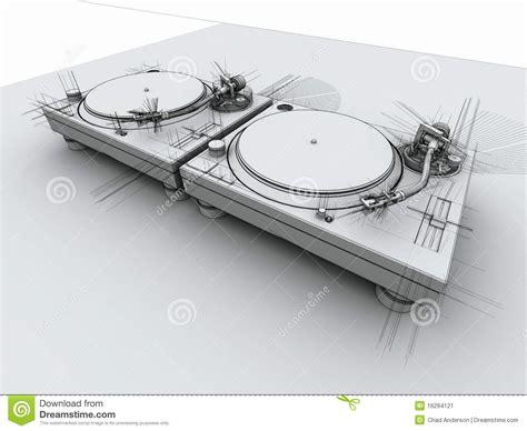 dj turntables  sketch stock image image