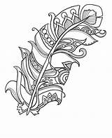 Coloring Pages Easy Adults Feather sketch template
