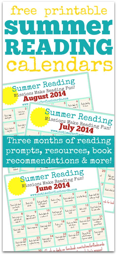 Summer Reading Calendar  Free Printables  No Time For Flash Cards