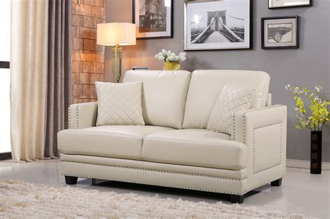 ferrara opulent beige leather sofa loveseat set with