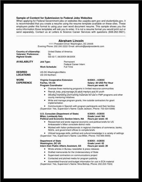 Federal Resume by Federal Resume Exle Template Business