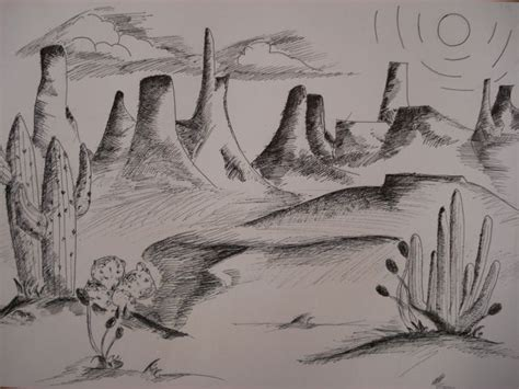 faithful attempt southwestern  ink landscape