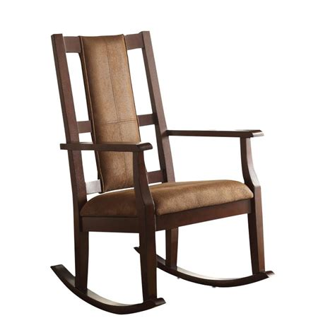 acme furniture butsea rocking chair in brown and espresso