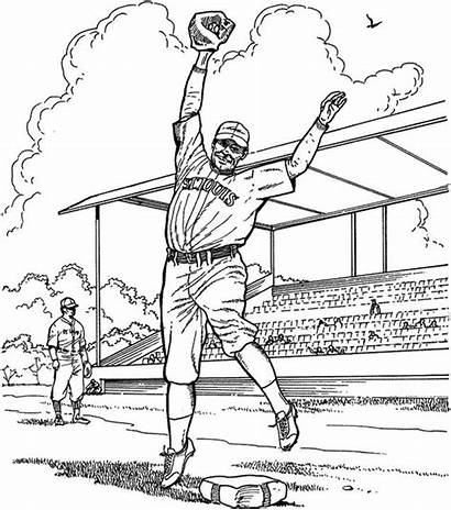 Coloring Baseball Pages Pitcher Reds Cincinnati Twins
