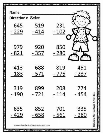 Math Grade Subtraction Worksheets 3rd Digit Coloring