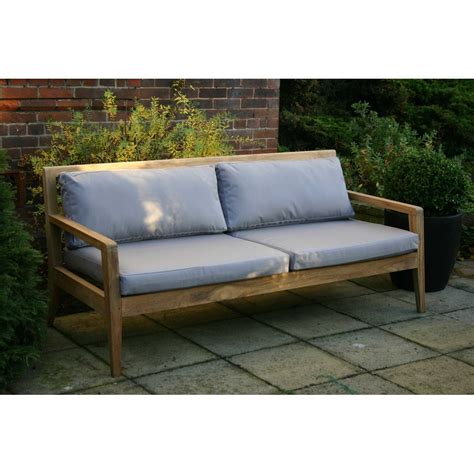 menton luxury teak sofa bench  grey cushions pr home