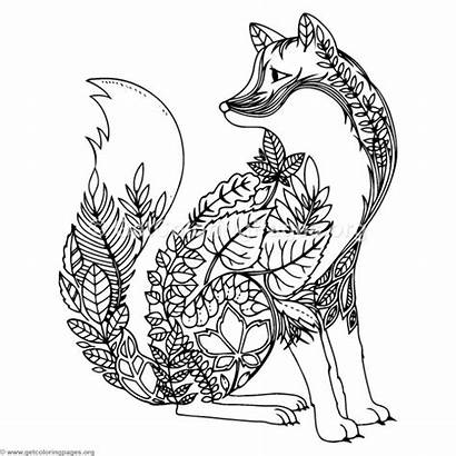 Zentangle Coloring Pages Mandala Wolf Animal Sheets