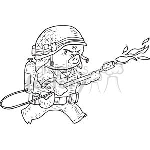 pig flame thrower vector illustration clipart royalty