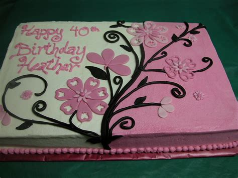 pink  black flowered sheet cake custom cakes