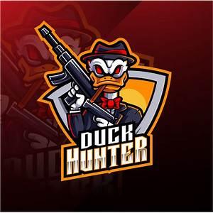 Duck, Hunter, Esports, Mascot, Logo, U2013, Graphicsfamily