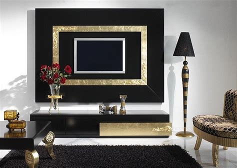 luxury modern classical tv console set  tv frame black