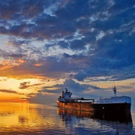 Boat Ore by Duluth Minnesota Ship Ore Boat At Sunset Boats Big