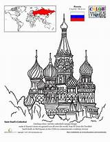 Coloring Cathedral St Pages Basil Famous Colouring Russian Basils Worksheets Worksheet Russia Education Architecture Sheets Around Saint Moscow Geography Landmarks sketch template