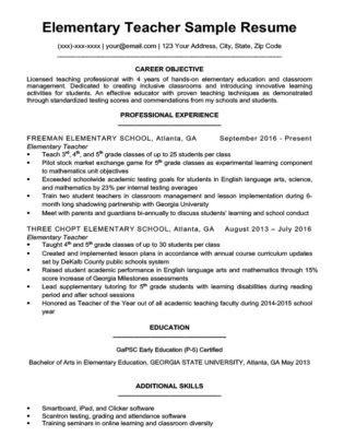 resumes for teachers tutor resume sample resume companion 24486   Elementary Teacher Resume Sample Download 315x410