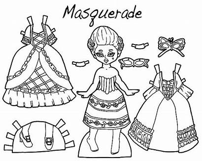 Coloring Pages Masquerade Doll Barbie Dresses Dressed