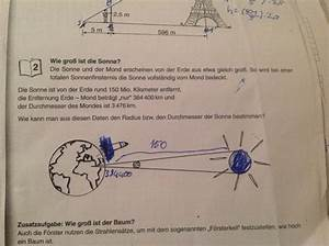 Entfernung Erde Mond Berechnen : durchmesser der sonne berechnen mit strahlensatz mathelounge ~ Themetempest.com Abrechnung
