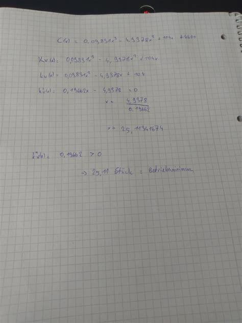 betriebsminimum berechnen betriebsoptimum betriebsminimum