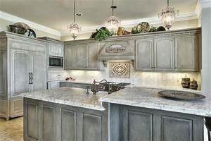 White Wooden Kitchen Cabinet With Gray White Marble Glaze