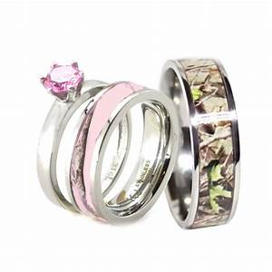 HIS HER Pink Camo Band Engagement Wedding Ring Set