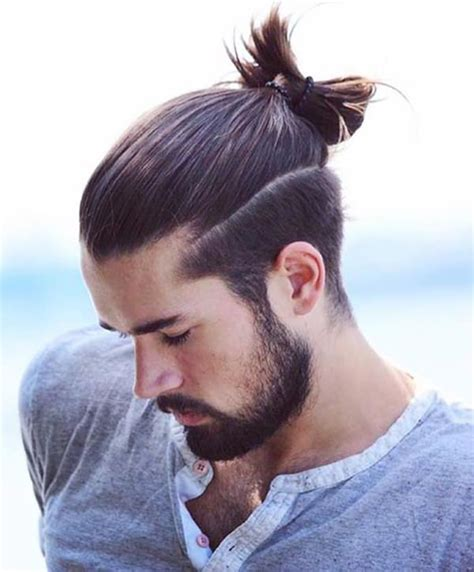 sexy  cool man bun haircuts