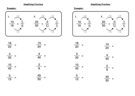 simplifying fractions by deechadwick teaching resources tes