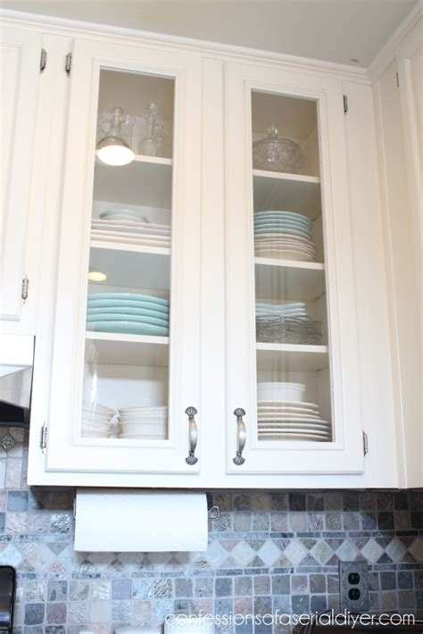 Kitchen Cupboard Paint Ideas - how to add glass to cabinet doors confessions of a serial do it yourselfer