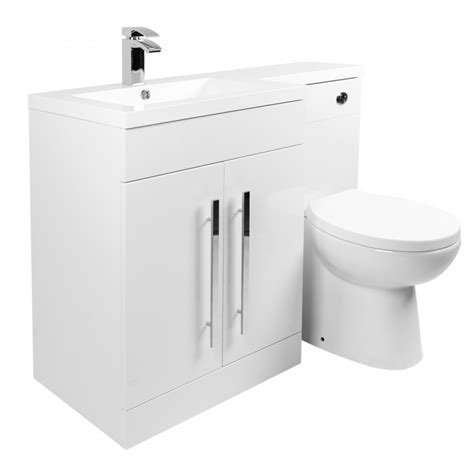 calm white left combination vanity unit set with
