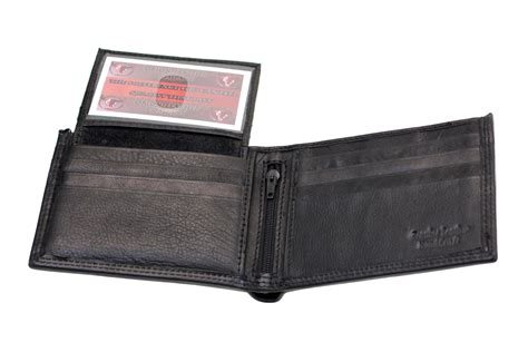 Mens Wallet Bifold Removable Id Cover Genuine Leather