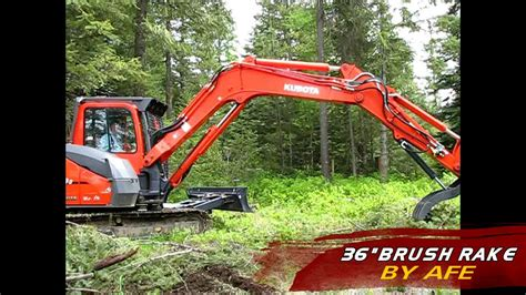 brush rake  kubota kx advanced forest equipment youtube