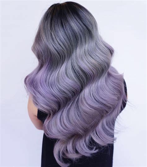 Gorgeous Smoky Gray Hair Color With Purple Ombre Hair And