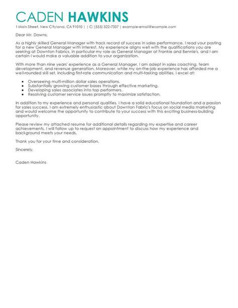 11640 general cover letter sles best sales general manager cover letter exles livecareer