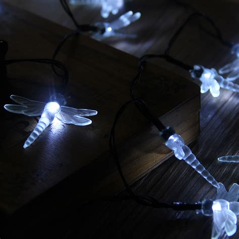 dragonfly outdoor string lights 30 led white solar dragonfly power fairy string lights